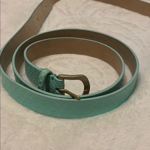 J Crew leather Belt Turquoise Mint Large
